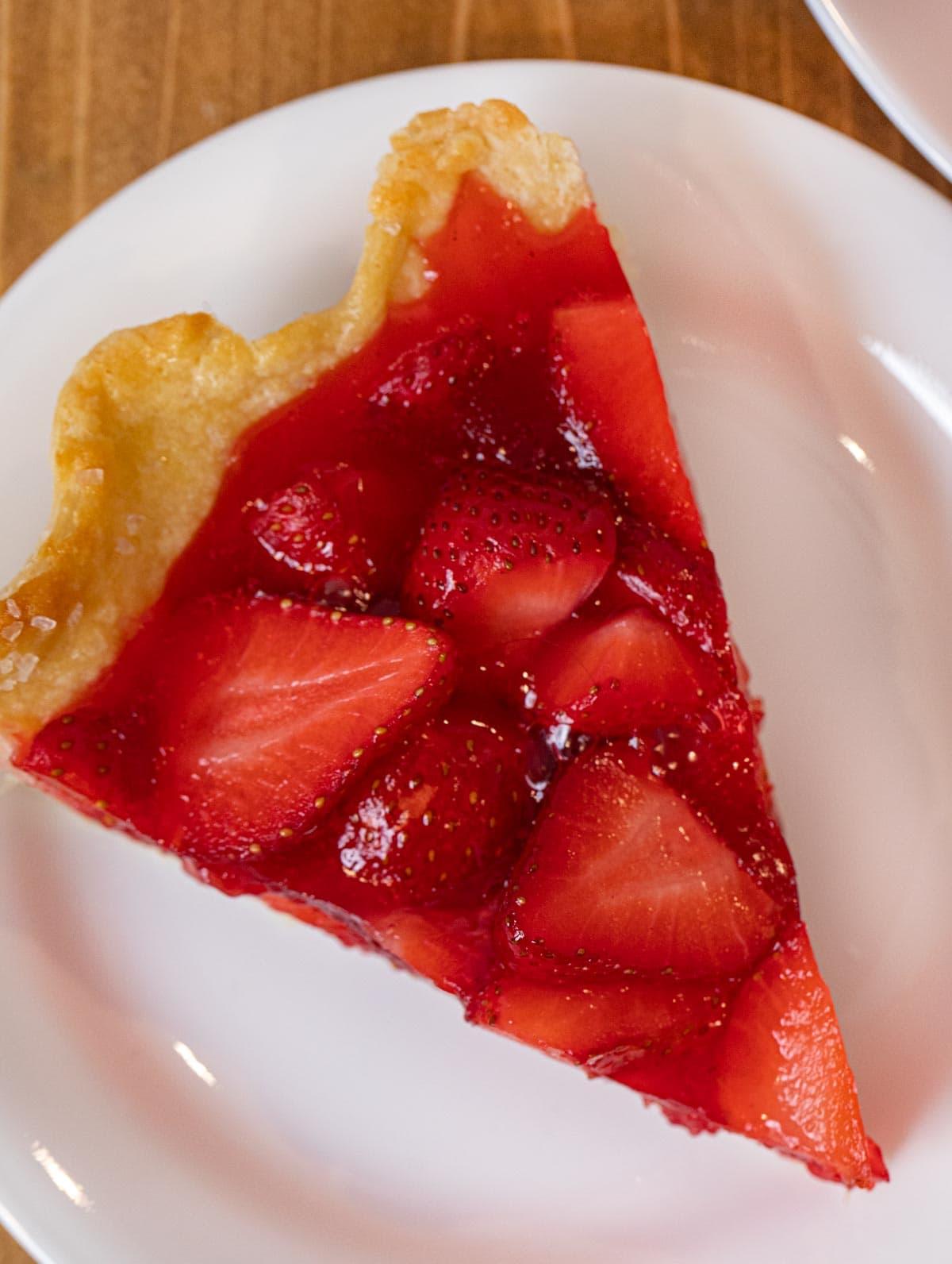 Fresh Strawberry Pie slice on plate