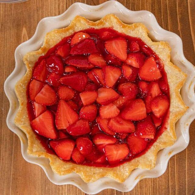 Fresh Strawberry Pie in pie plate