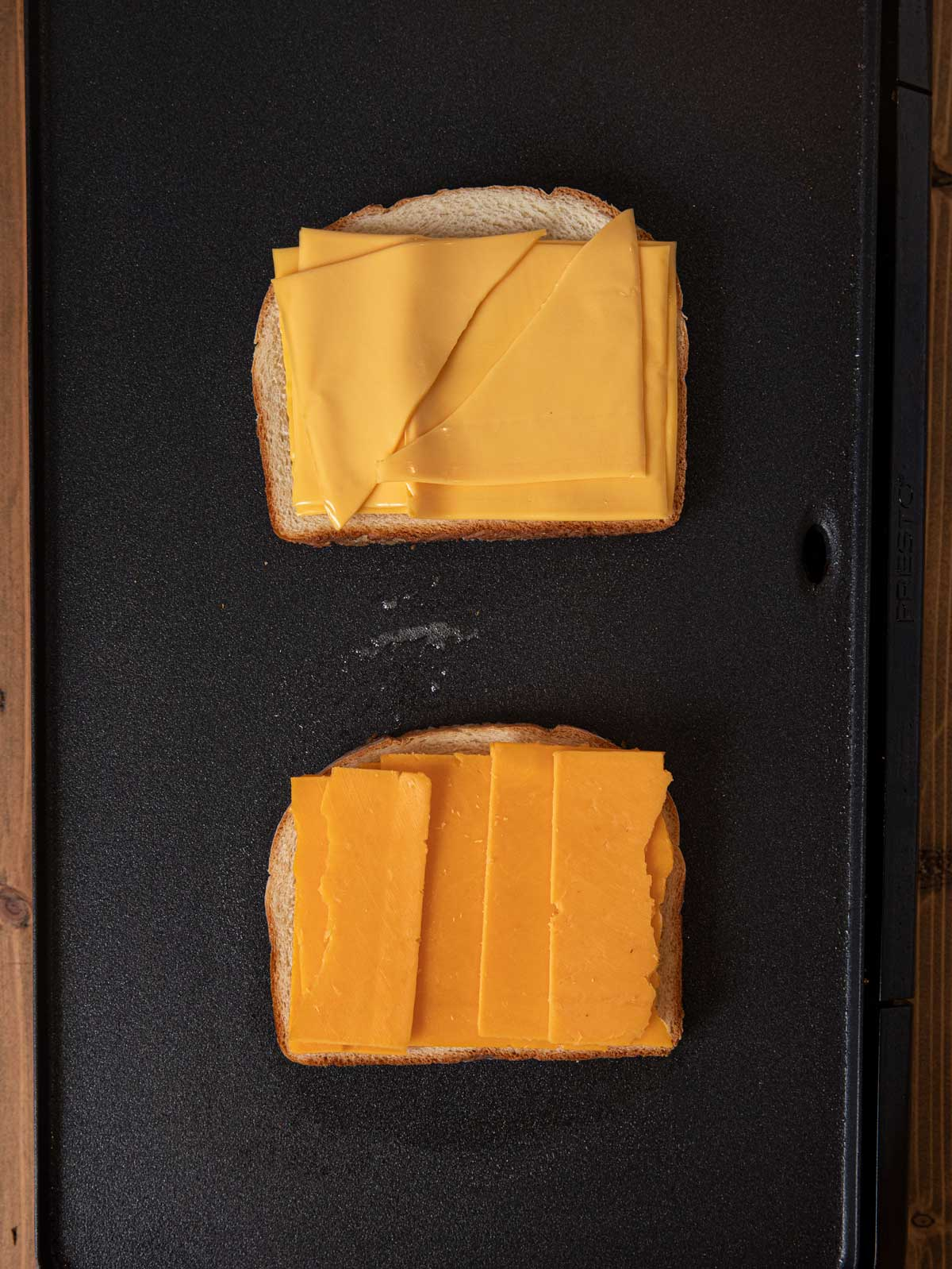 Grilled Cheese Sandwiches open-faced bread and cheese on griddle