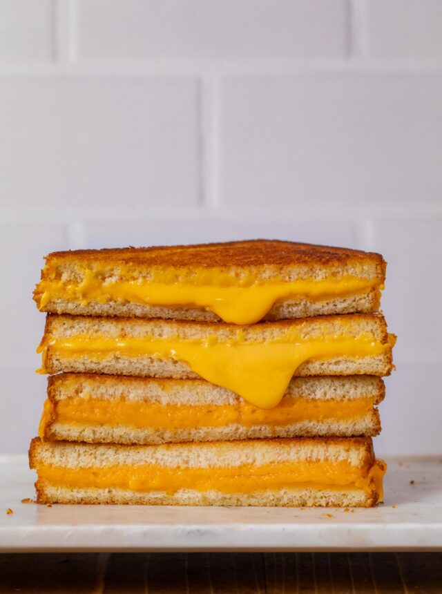 Grilled Cheese Sandwich halves in stack