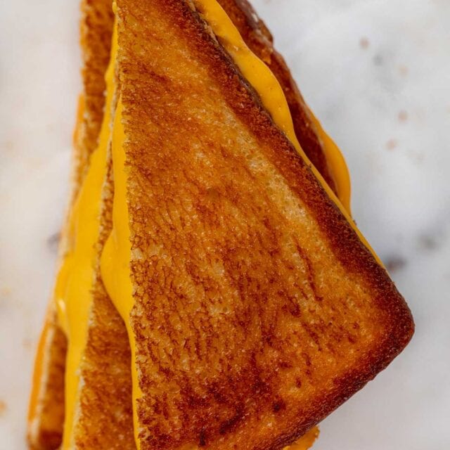 top-down view of Grilled Cheese Sandwich halves in stack