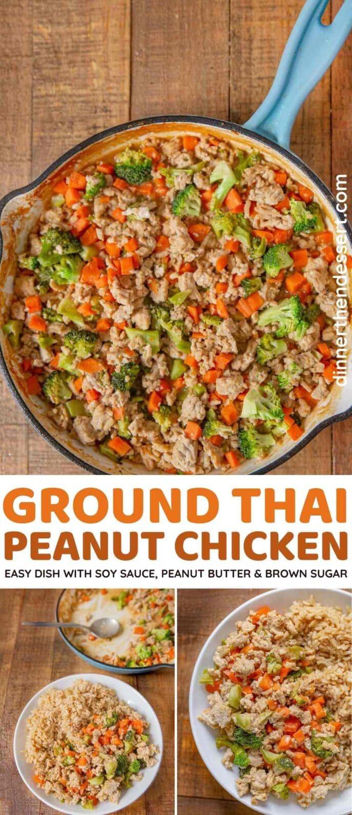 Ground Peanut Chicken collage