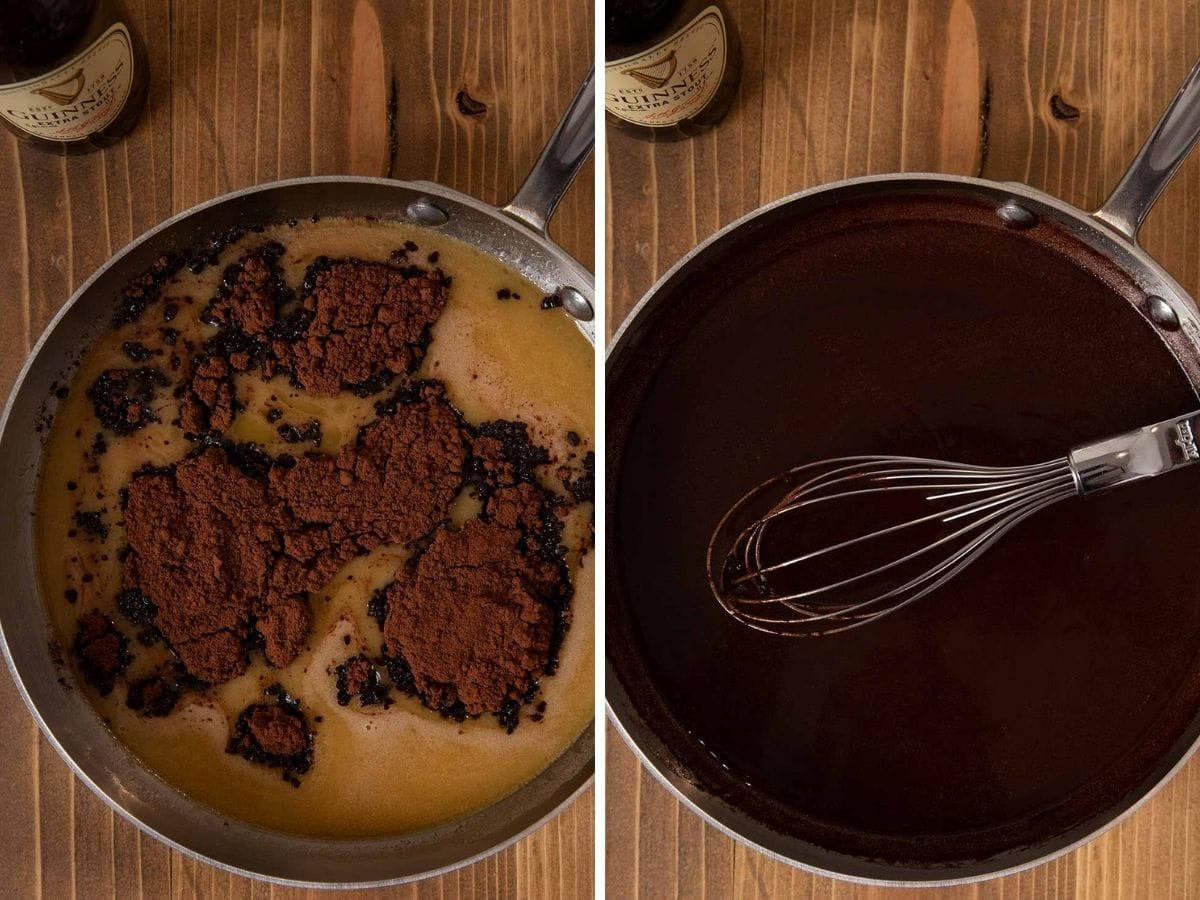 Guinness Chocolate Cake collage of Guinness and cocoa powder in sauce pan