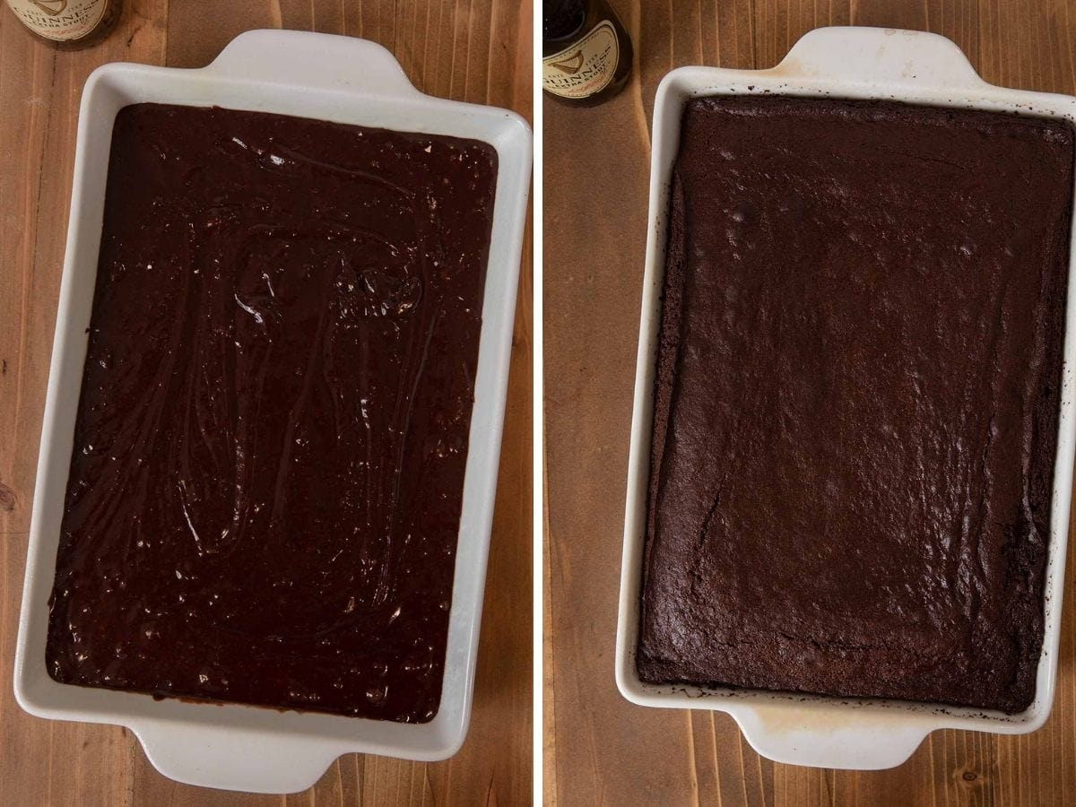 Guinness Chocolate Cake batter in baking dish before and after baking