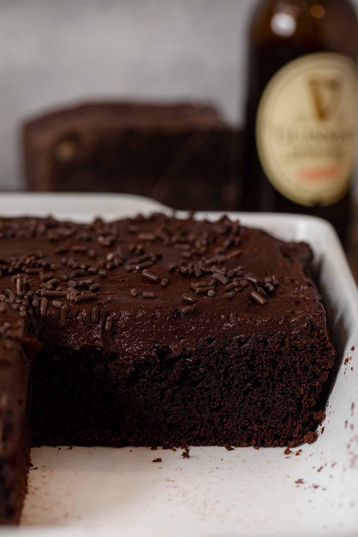 Guinness Chocolate Sheet Cake cross section in baking dish