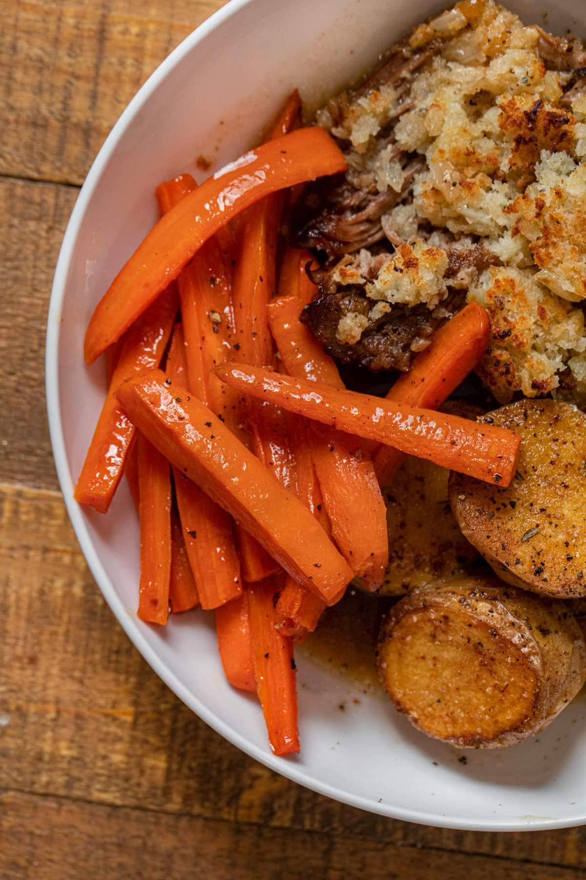 Honey Glazed Carrots on dinner plate