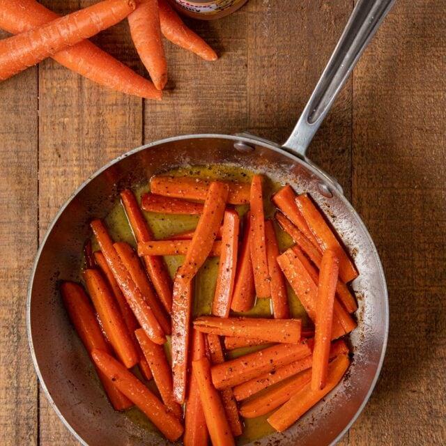 Honey Glazed Carrots in skillet