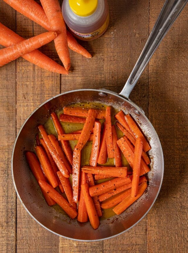 Honey Glazed Carrots in skillet