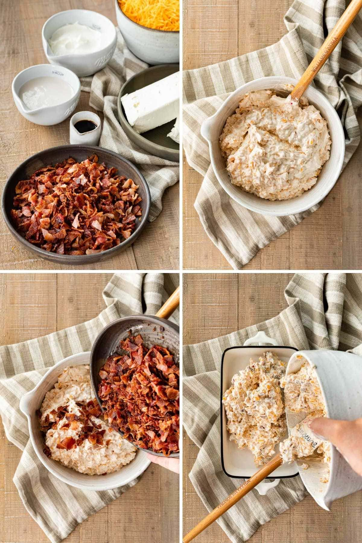 Collage of prep steps for Hot Bacon Cheese Dip