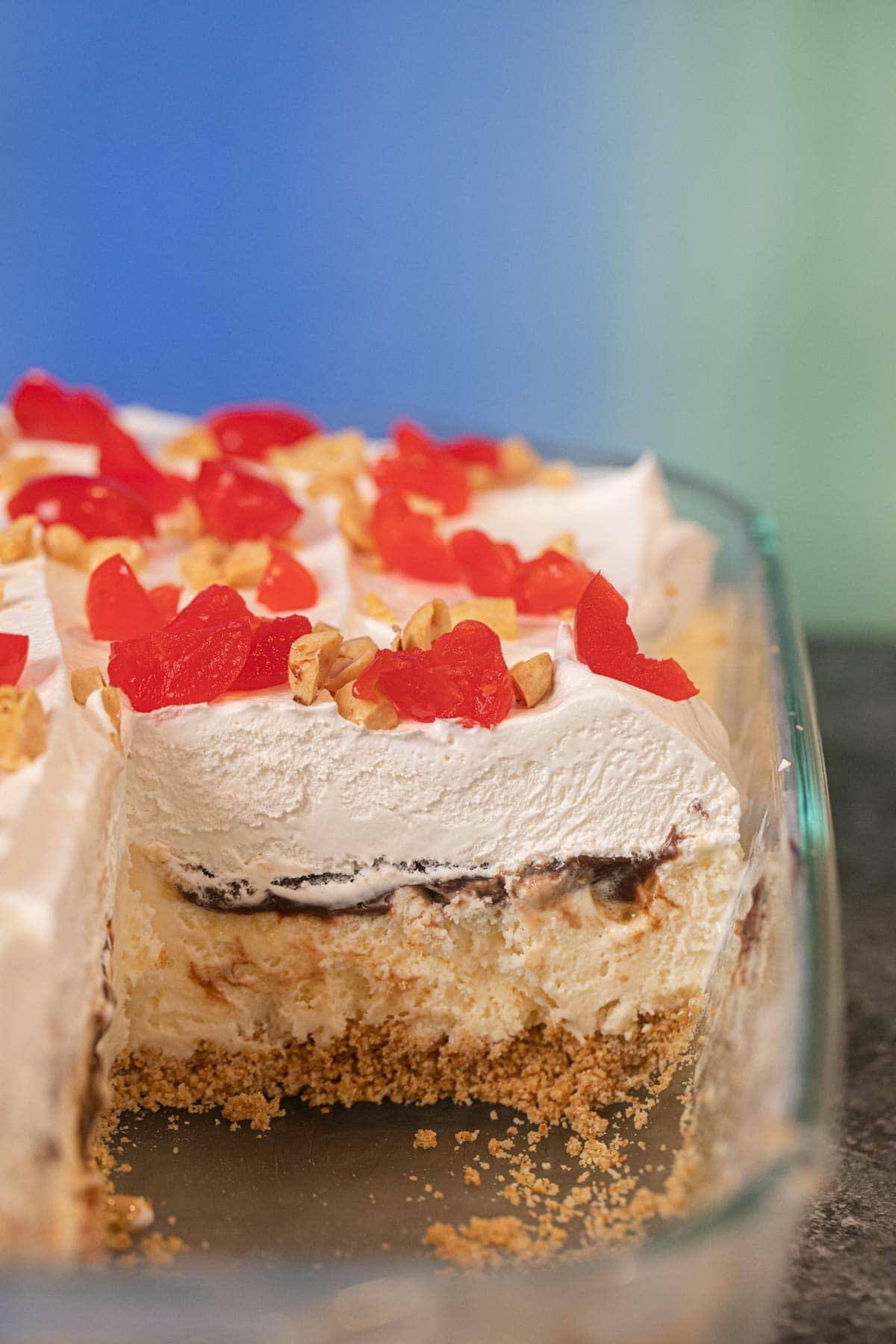 Ice Cream Sundae Casserole cross-section in baking dish