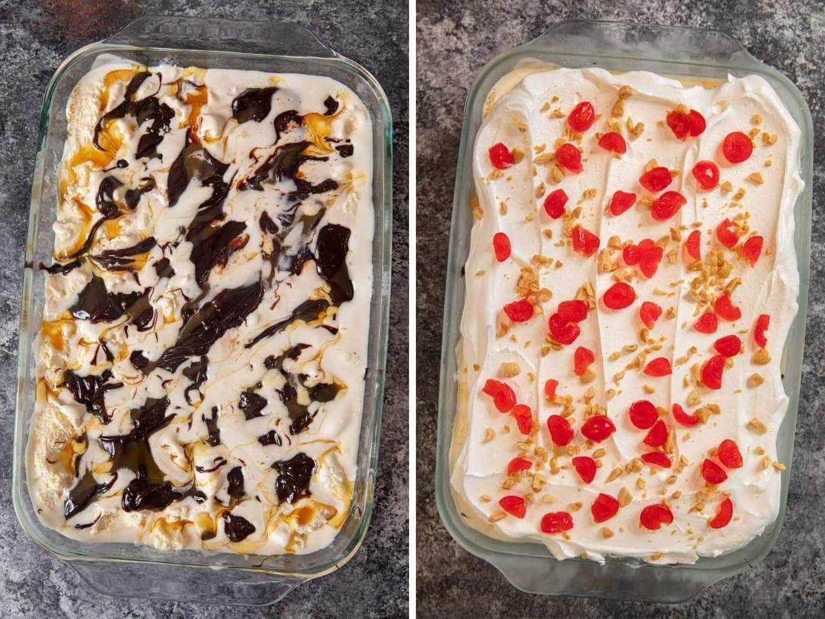 Ice Cream Sundae Casserole collage of ice cream mixed with chocolate and caramel with whipped cream topping with maraschino cherries and chopped peanuts
