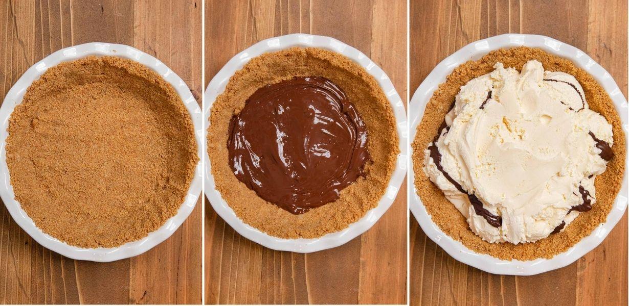 trio of Ice Cream Sundae Pie prep steps