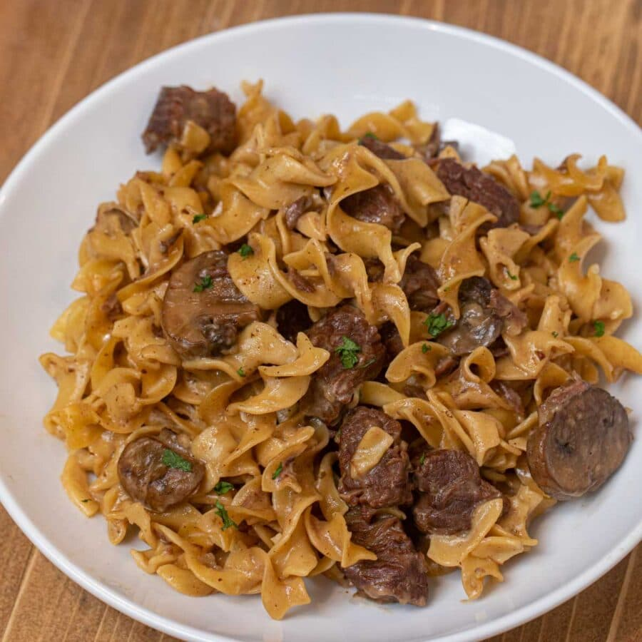 Instant Pot Beef Stroganoff serving on plate