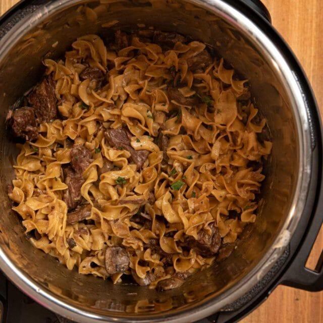 Instant Pot Beef Stroganoff in pressure cooker