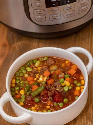 Instant Pot Hamburger Soup serving in bowl