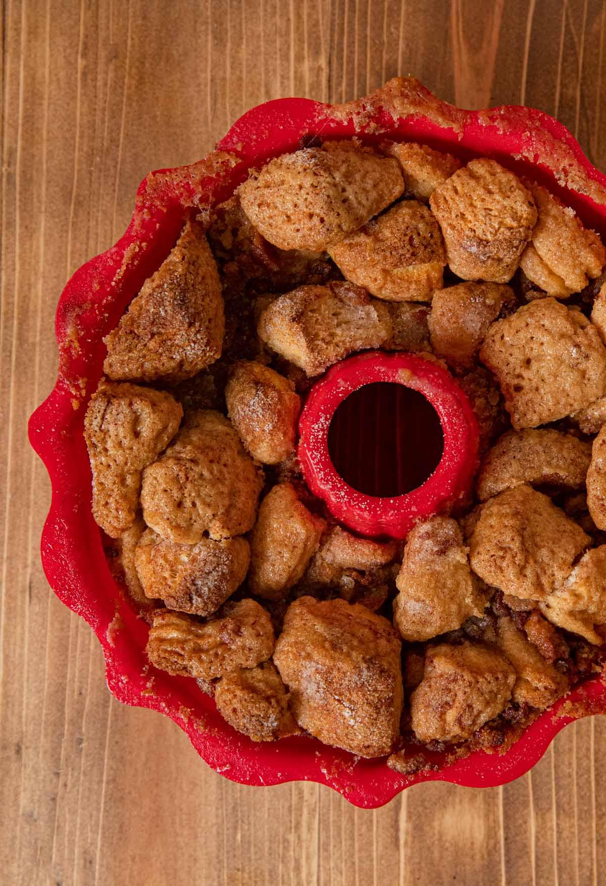 Maple Bacon Monkey Bread in silicon bundt pan