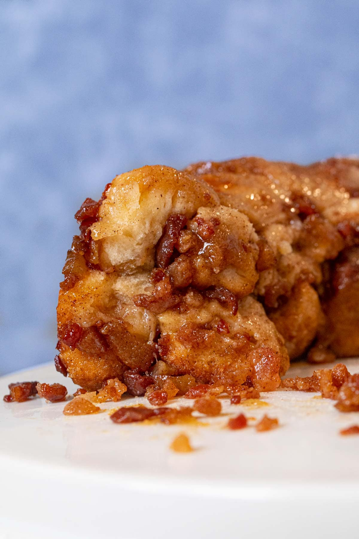 cross-section of Maple Bacon Monkey Bread on cake stand