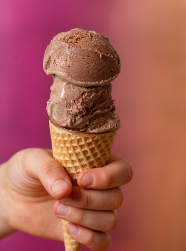 No-Churn Chocolate Ice Cream two scoops on waffle cone