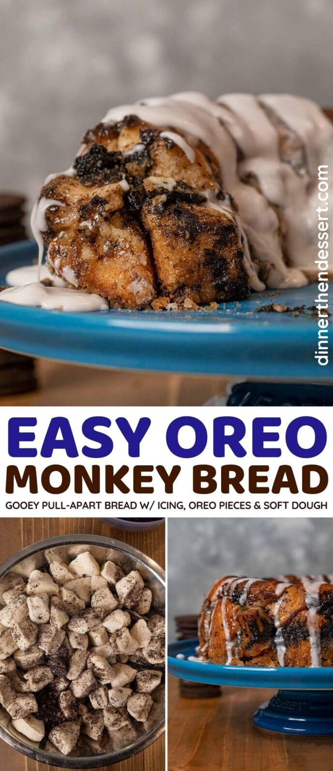 Gooey Monkey Bread with Oreos and icing
