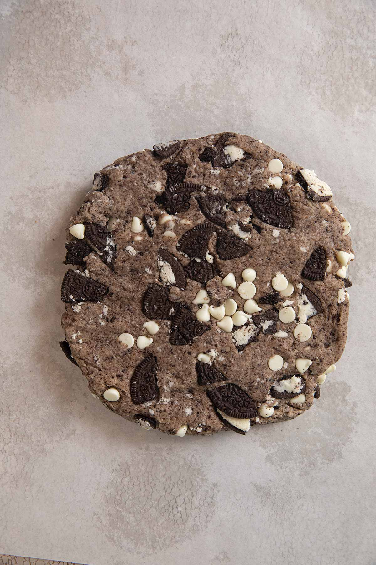 Oreo Scones dough in a circle shape