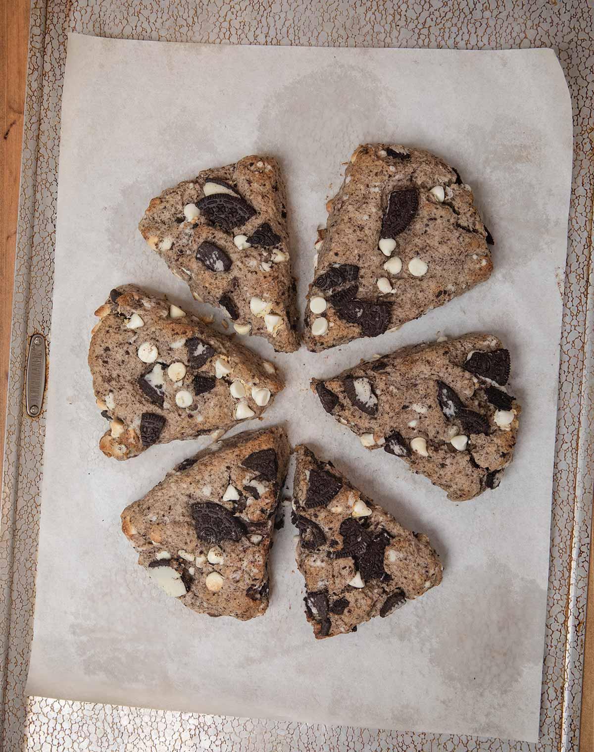 Oreo Scones on baking sheet