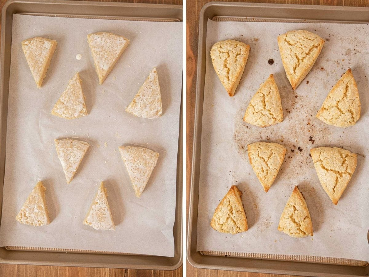 Classic Scones on baking sheet before and after cooking