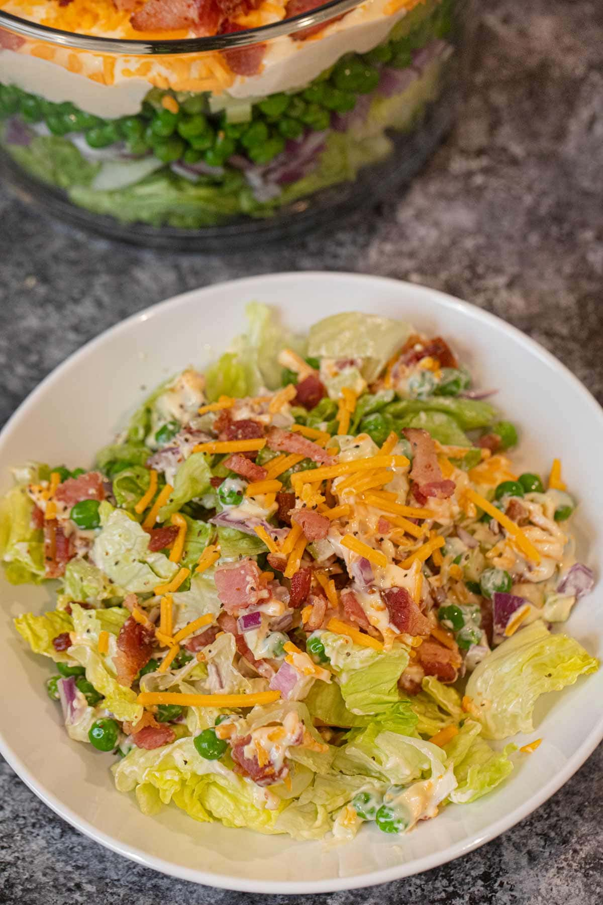 Seven Layer Salad serving on plate