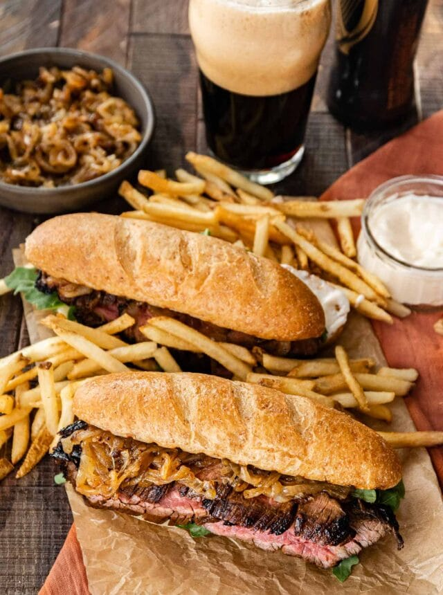 Steak Sandwiches on board with fries