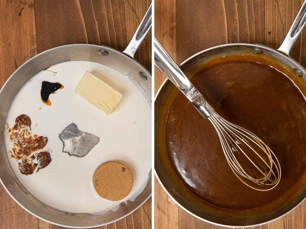 Sticky Toffee Pudding collage of sauce ingredients and completed sauce in saucepan
