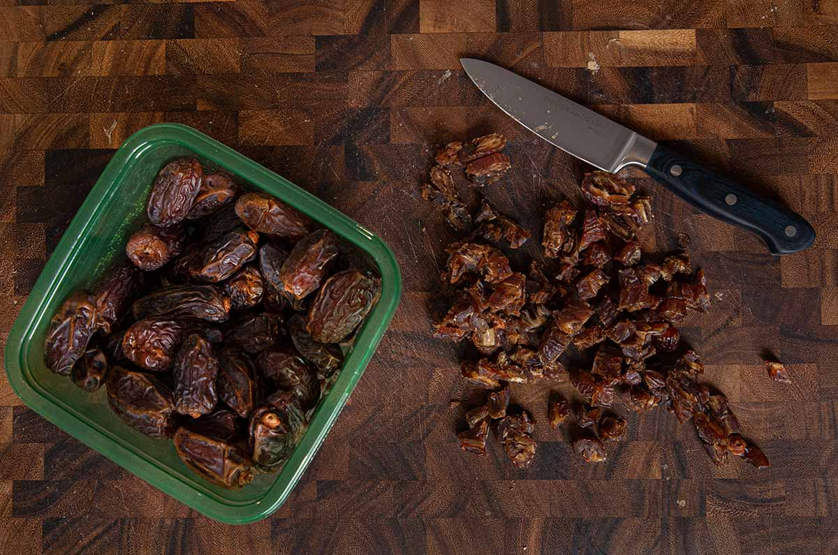 Sticky Toffee Pudding chopped dates on cutting board