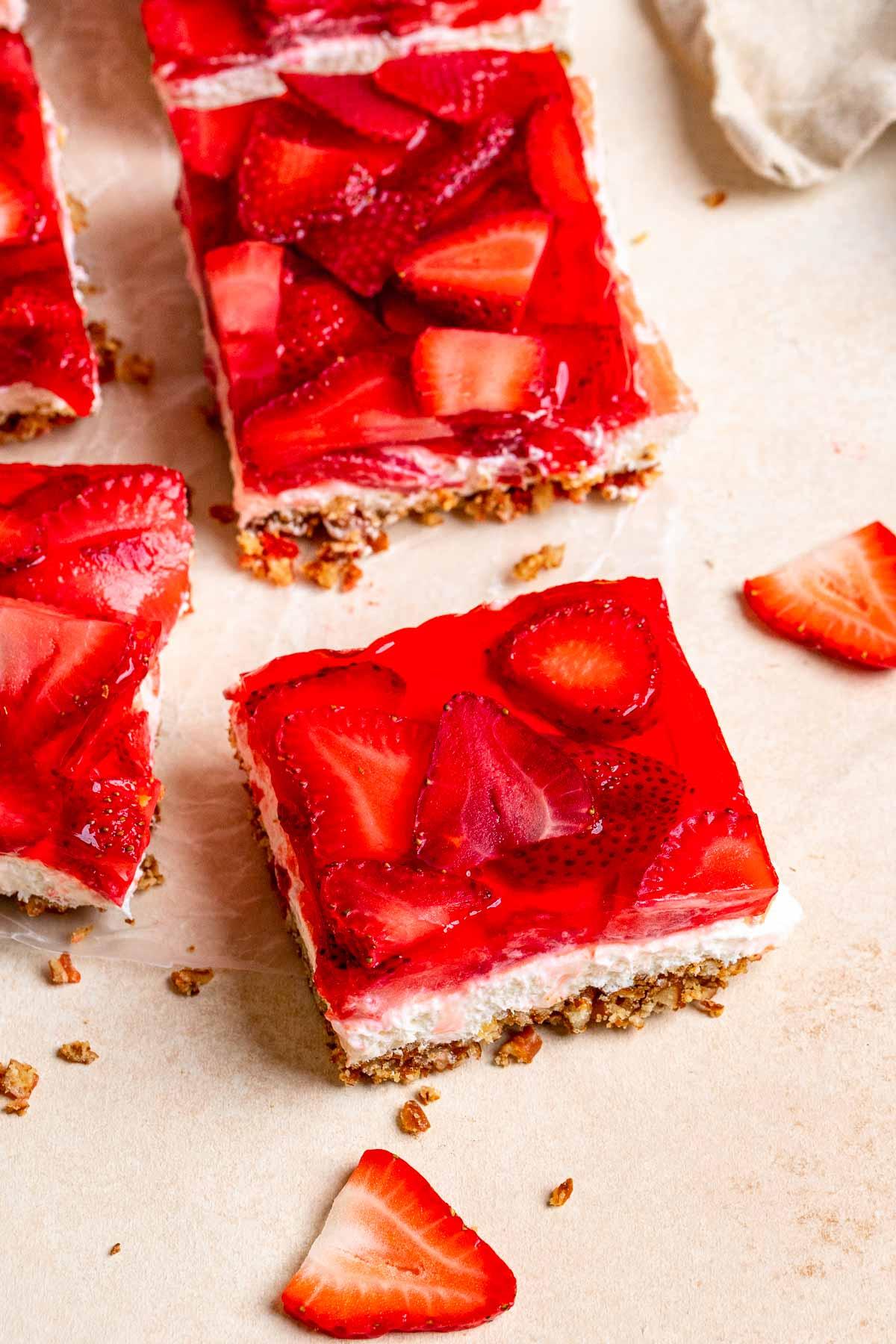 Strawberry Pretzel Salad square slices