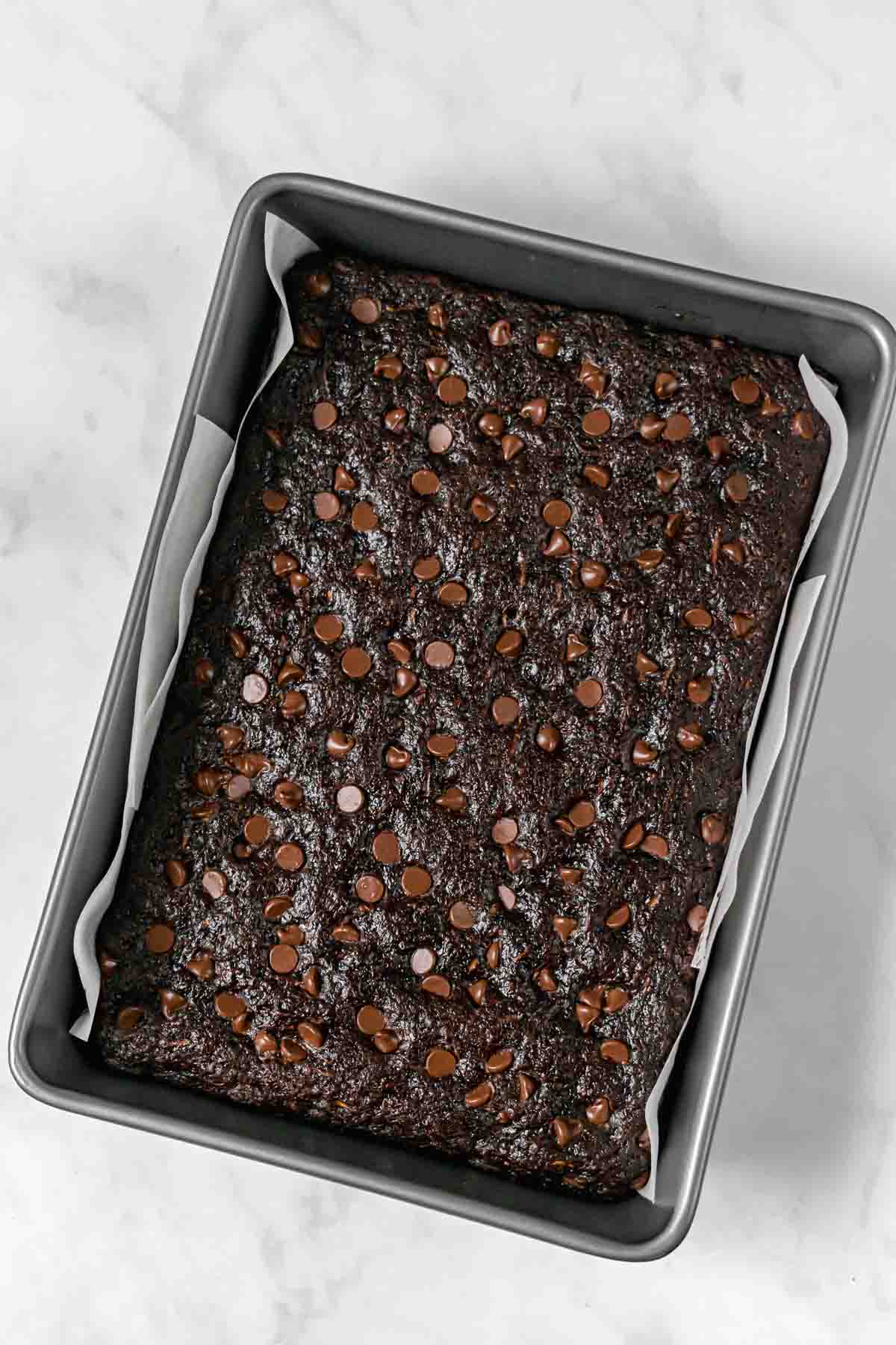 Zucchini Brownies in pan after baking