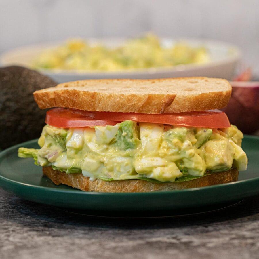 Avocado Egg Salad in sandwich