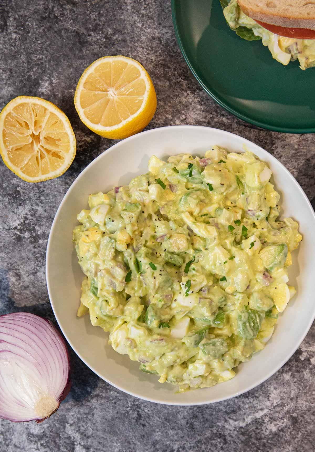 Avocado Egg Salad in serving bowl