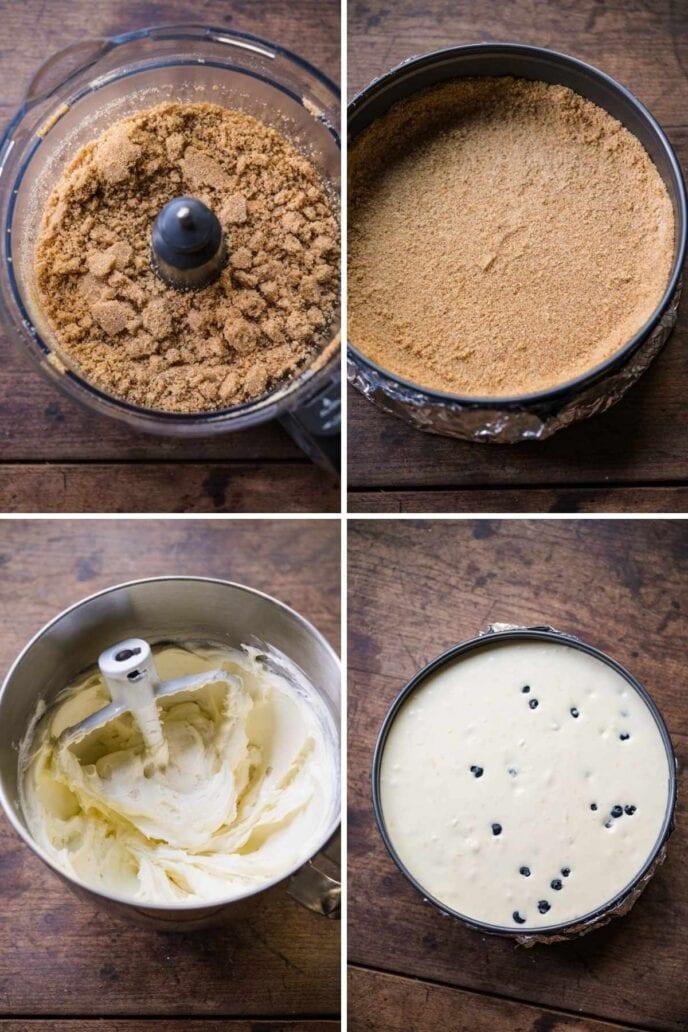 Blueberry Lemon Cheesecake collage of prep steps