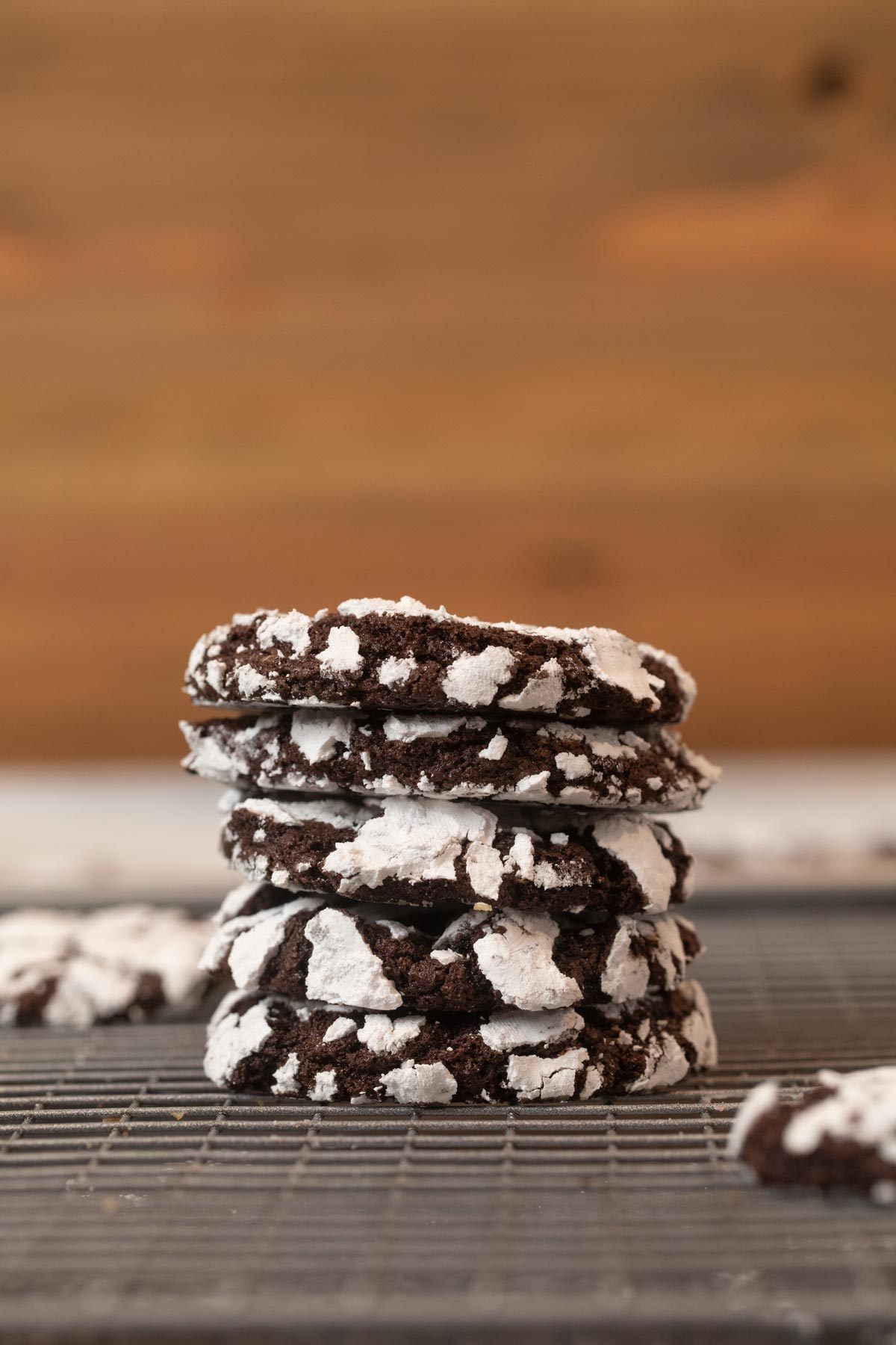 Chocolate Crinkle Cookies in stack