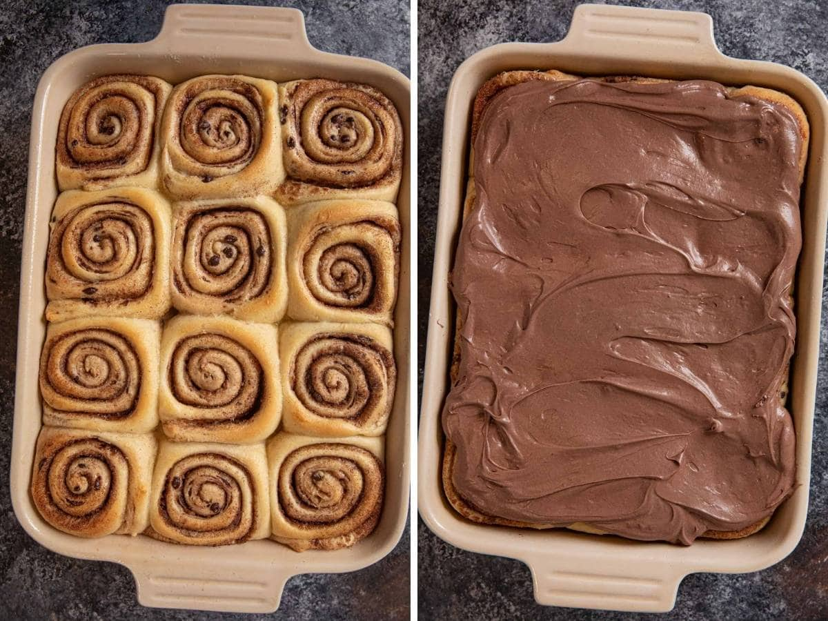 Chocolate Chip Cinnamon Rolls collage of baked cinnamon rolls and chocolate frosting