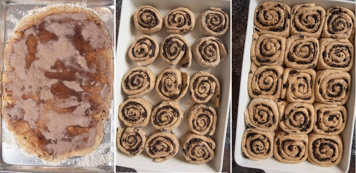 Chocolate Chip Cinnamon Rolls collage of a trio of steps