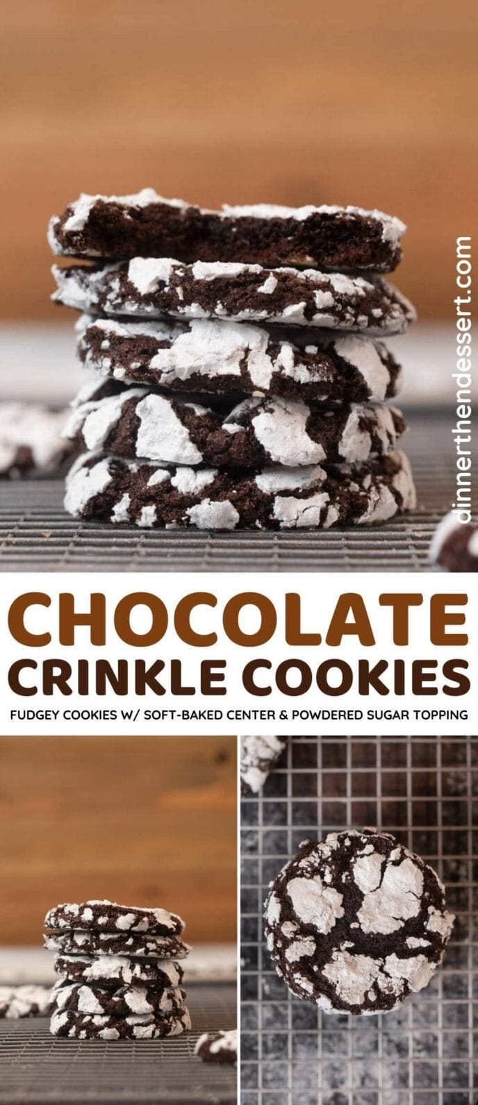 Chocolate Crinkle Cookies collage