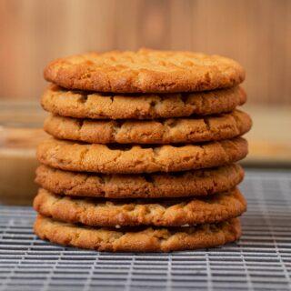 Crispy Peanut Butter Cookies in stack