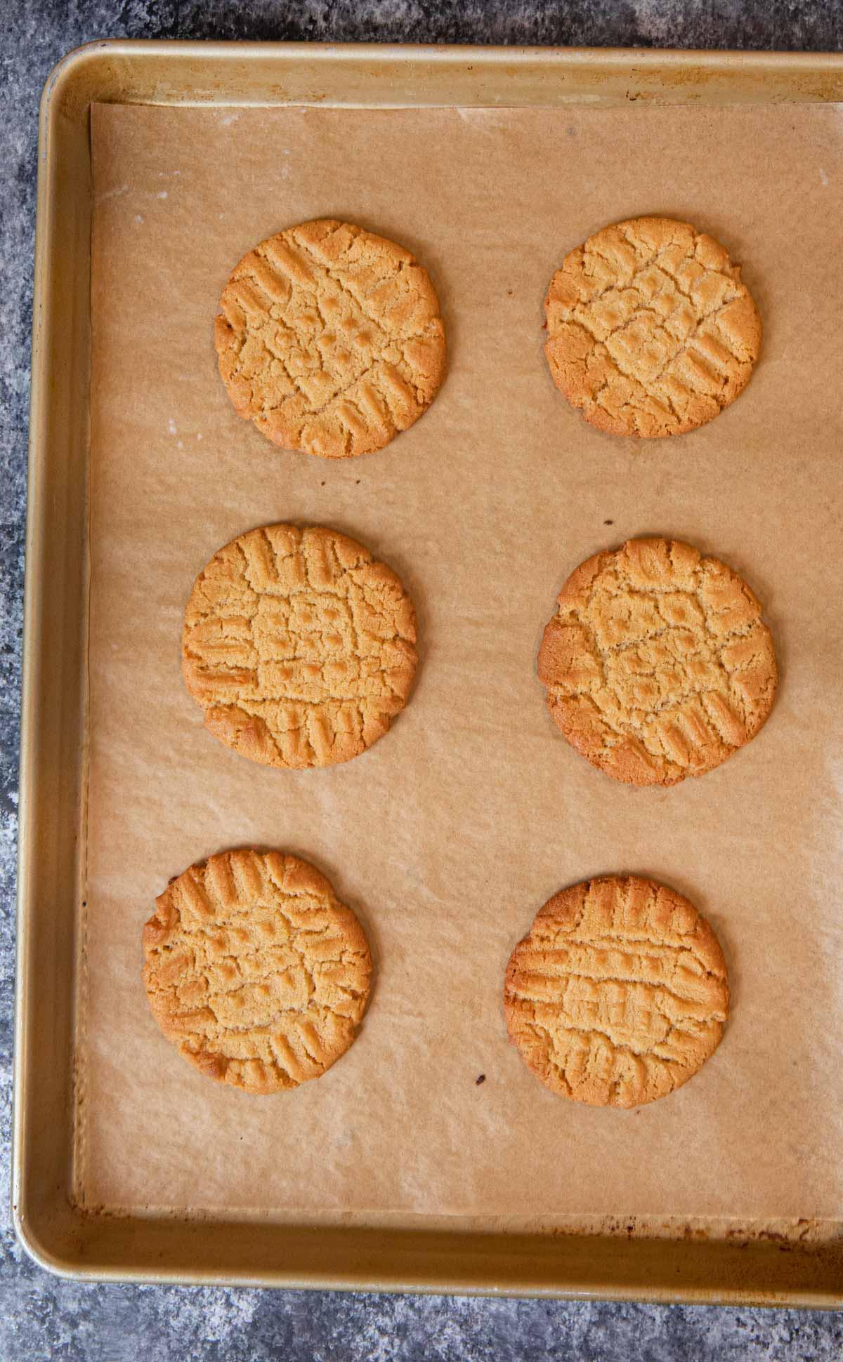 Crispy Peanut Butter Cookies on baking sheet