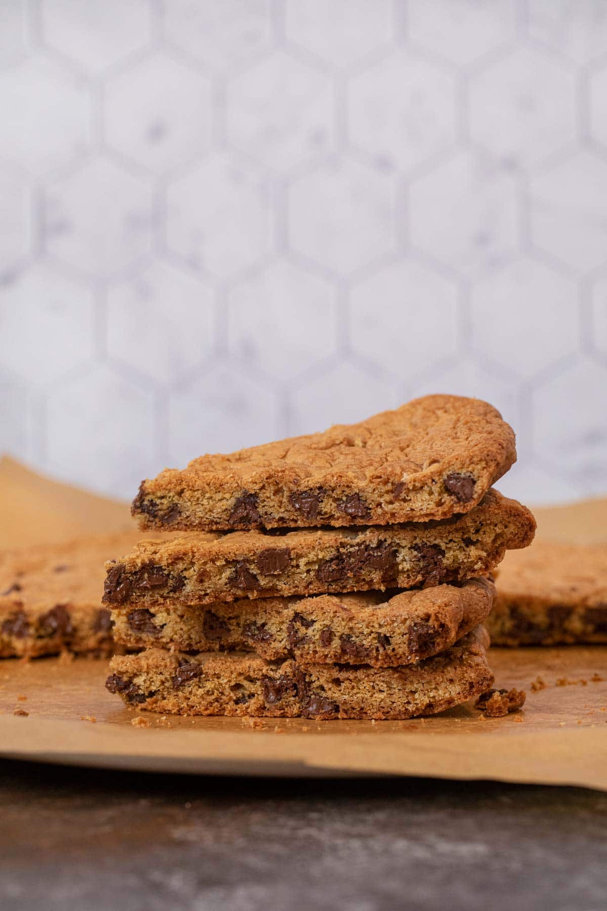 Giant Chocolate Chip Cookie slices in stack