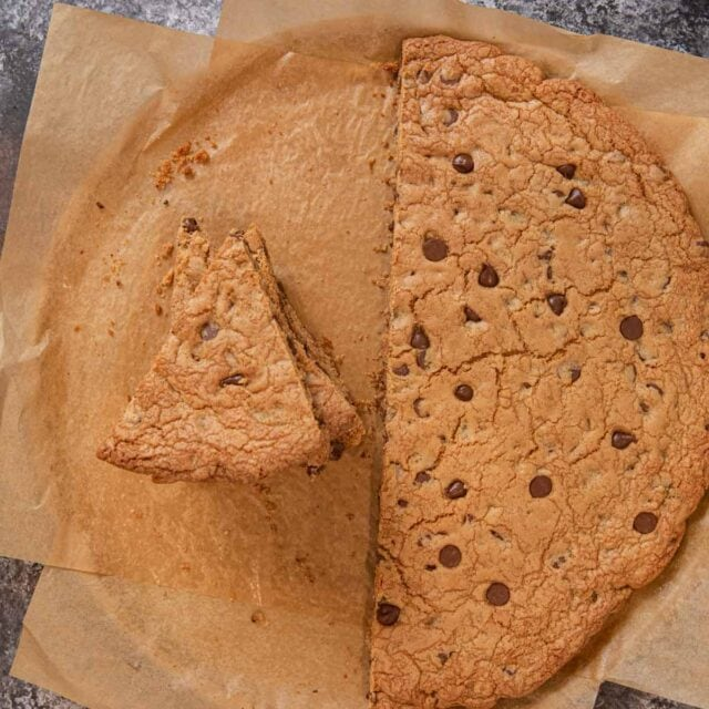 top-down view of Giant Chocolate Chip Cookie slices in stack