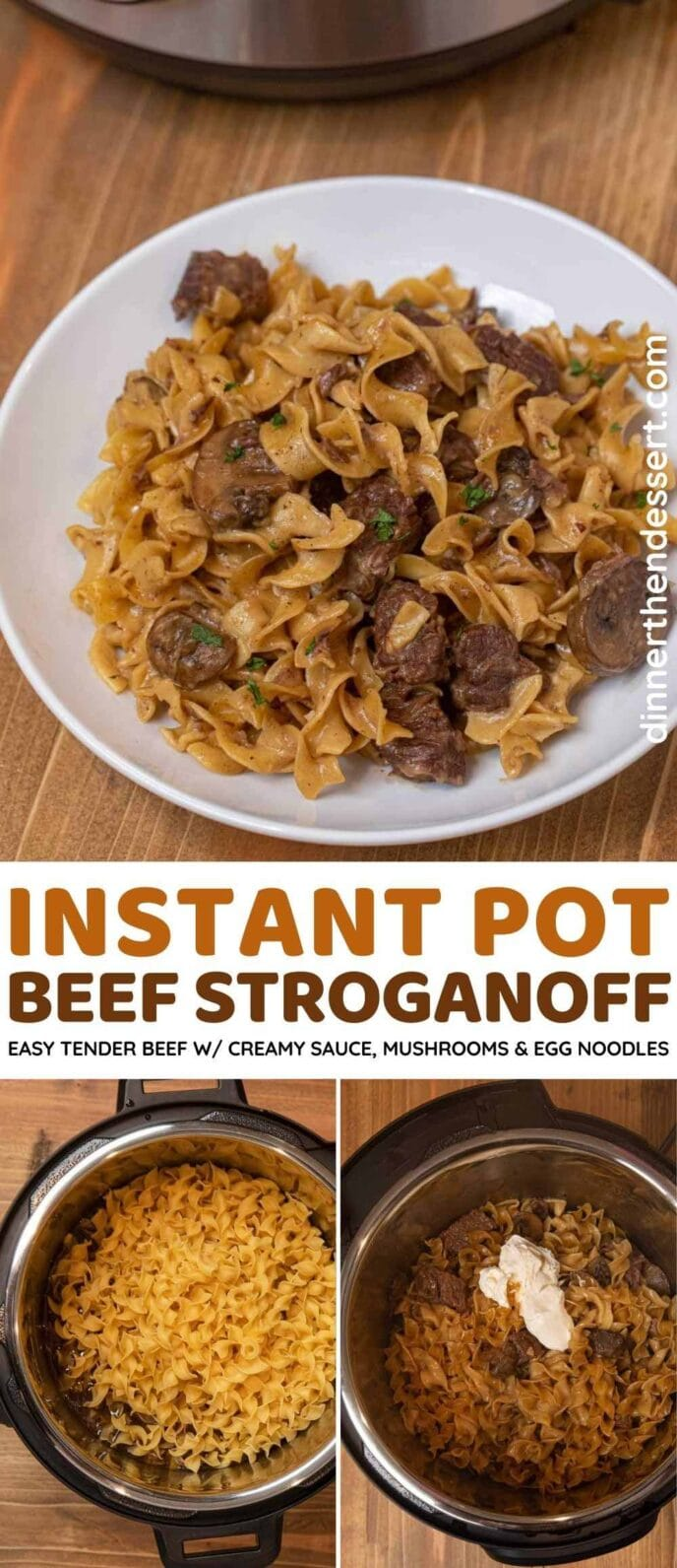 Instant Pot Beef Stroganoff collage