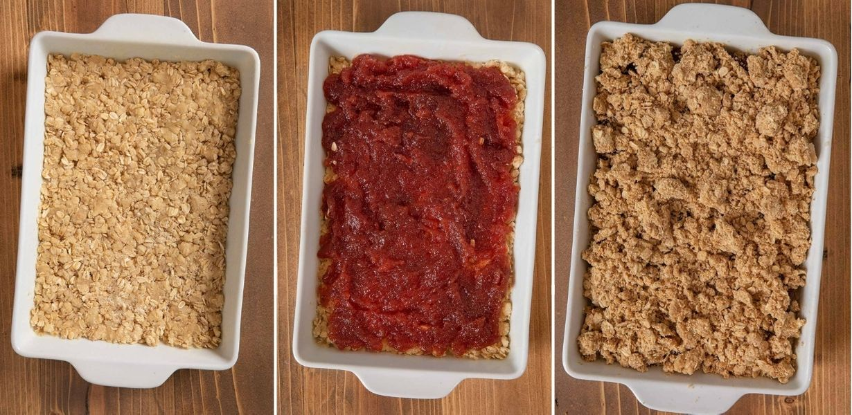 Oatmeal Jam Bars collage of layers in baking dish before baking