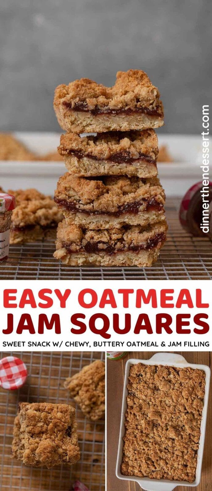 Oatmeal Jam Squares collage