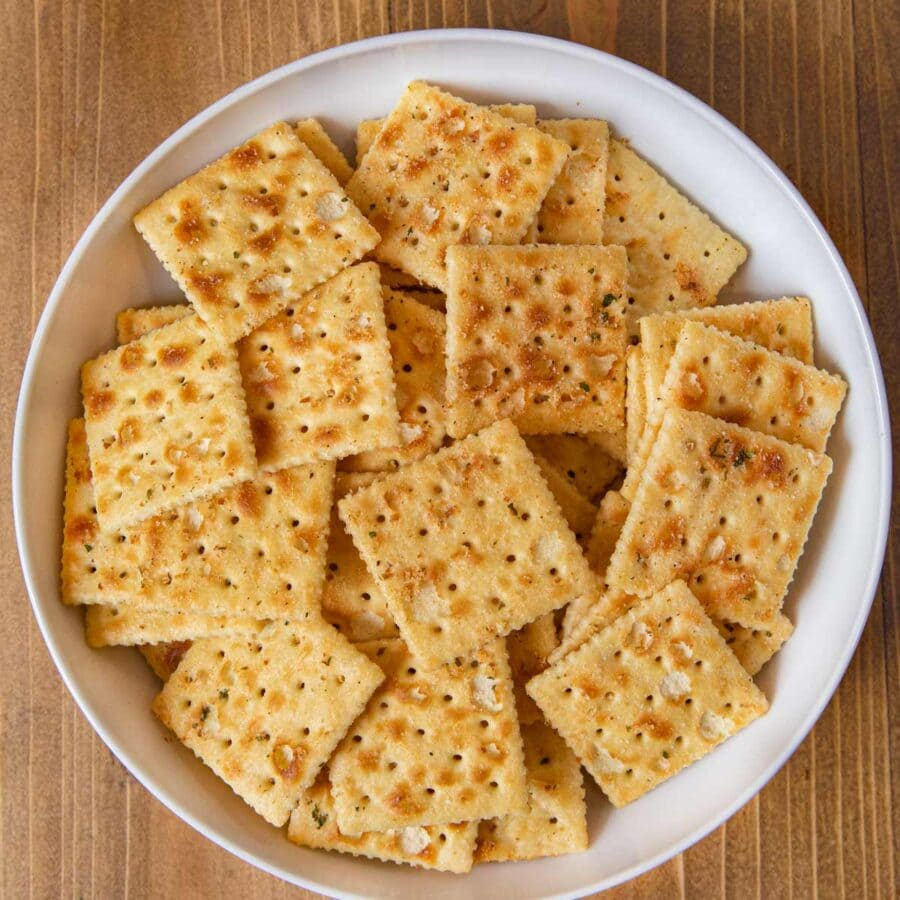 Ranch Mix Saltines in bowl