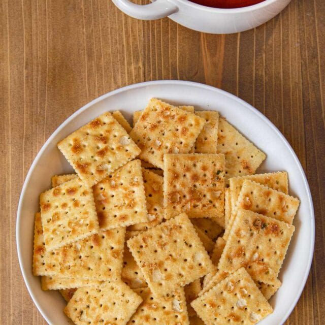 Ranch Mix Saltines in bowl served with tomato soup