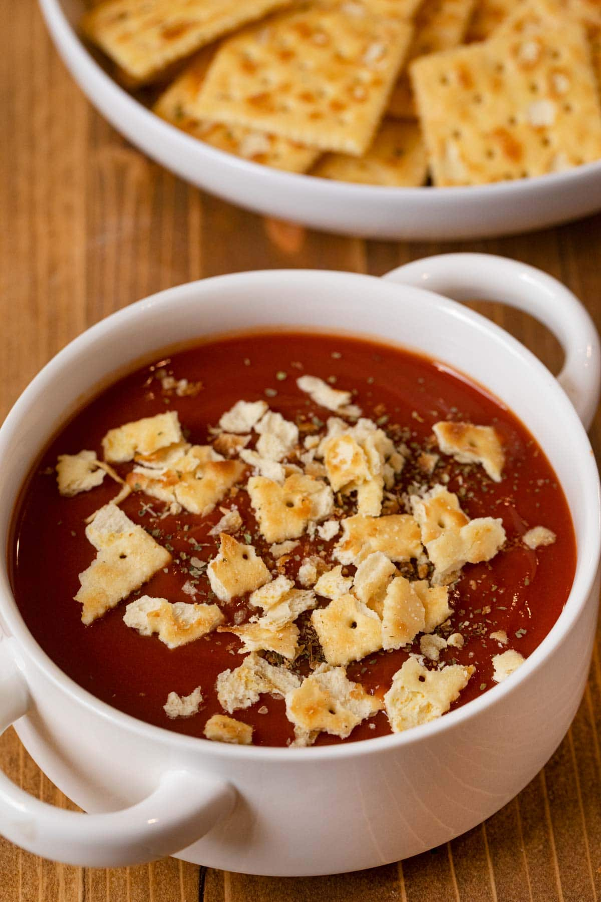 Ranch Mix Saltines crumbled up into bowl of tomato soup