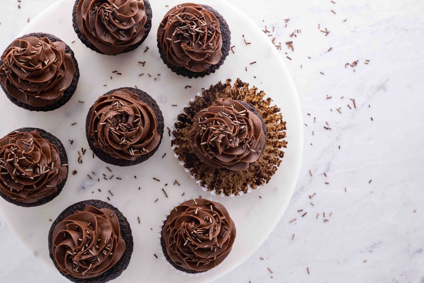Rich Chocolate Cupcakes on serving plate